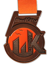 5K Medal, City skyline, matching ribbon